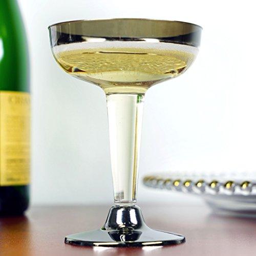Efavormart 55pcs - Silver Rimmed 5oz Disposable Plastic Martini Glass - 5 Ounce Martini Glass