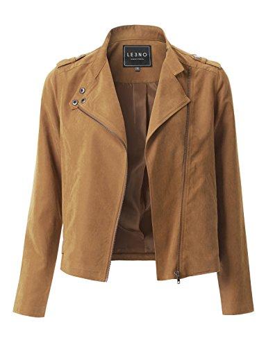LE3NO Womens Lightweight Faux Suede Zip Up Moto Biker Jacket