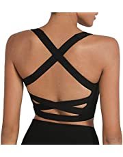 romansong Strappy Yoga Sports Bras for Women Padded Criss-Cross Back Tank Tops