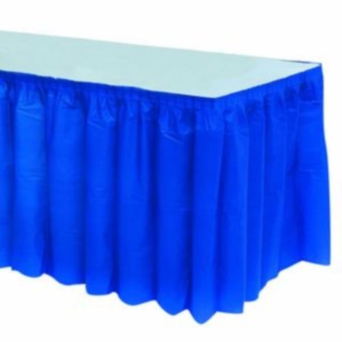 Kwik-Cover KS3096PK-B PKG. Blue Kwik-Skirt With 30'' X 96''  White Cover Fitted Table Cover With Skirt, (1 full case of 10) by Kwik-Covers