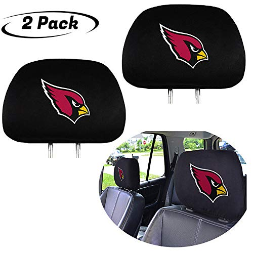 2pcs NFL Arizona Cardinals Team Logo headrest Cover, Keep Cardinals Great, Luxury Black Fabric Headrest Cover for NFL Cardinals Fans, Set of 2 Washable Head Rest Cover for Cars or Trucks
