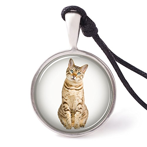 Vietguild's Bengal Cat Necklace Pendants Pewter Silver