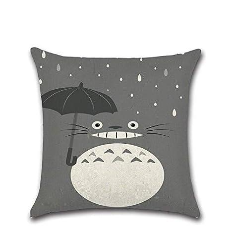 HLZLA Moda Linda Caricatura Totoro Funda de cojín algodón ...