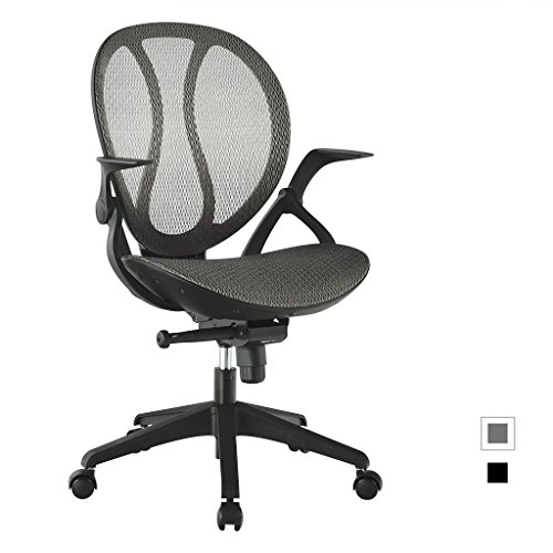LANGRIA Mid-Back Mesh Adjustable Swivel Chair Executive Office Chair Ergonomic Computer Chair, Cotton Padded Seat, Back Tilt Mechanism,360 Degree Swivel,Max 308.6 lbs, LROC-088GY (Grey)