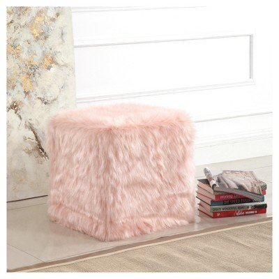 HomePop Faux Fur Pouf - Pink Pink by HomePop