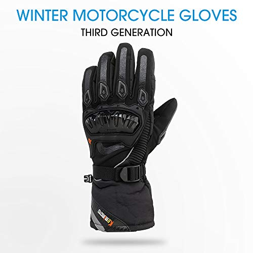 KEMIMOTO Motorcycle Gloves Winter Touchscreen Waterproof Four-layer Structure Third Generation Black Middle
