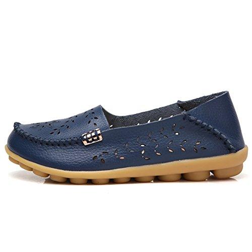 Lingtom Womens Casual Lederen Instappers Plat Rijden Instap Schoenen Donkerblauw