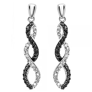 0.08 Carat (ctw) Sterling Silver Round Black & White Diamond Ladies Infinity Swirl Dangling Earrings