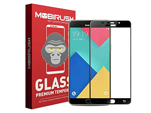 zivite Mobirush Edge to Edge Full Glue Gorilla Tempered Glass Guard for Samsung Galaxy A9 Pro 2016  Black
