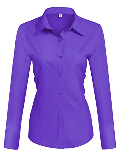 HOTOUCH Womens Tailored Long Sleeve Button Down Shirt with Stretch (Purple (Women French Cuff Shirt)