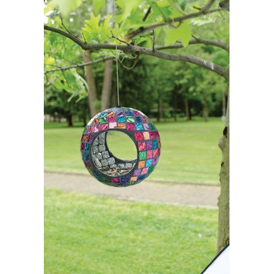 Mosaic Glass Garden Jeweled Hues Circle Bird (Bird Feeder Tree Art)