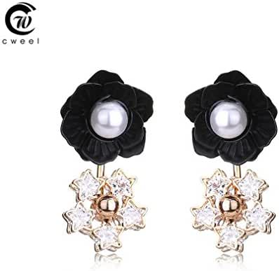 Glucky : Fine Jewelry Flower Vintage Dangler For Women's Wedding Crystal Earring African Fashion Accessories Party Gift Black