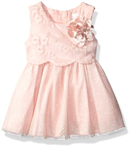 Sweet Heart Rose Little Girls Embroidered Pop-over Bodice Special Occasion Dress, Blush, 12 Months Sweetheart Rose Baby Girl