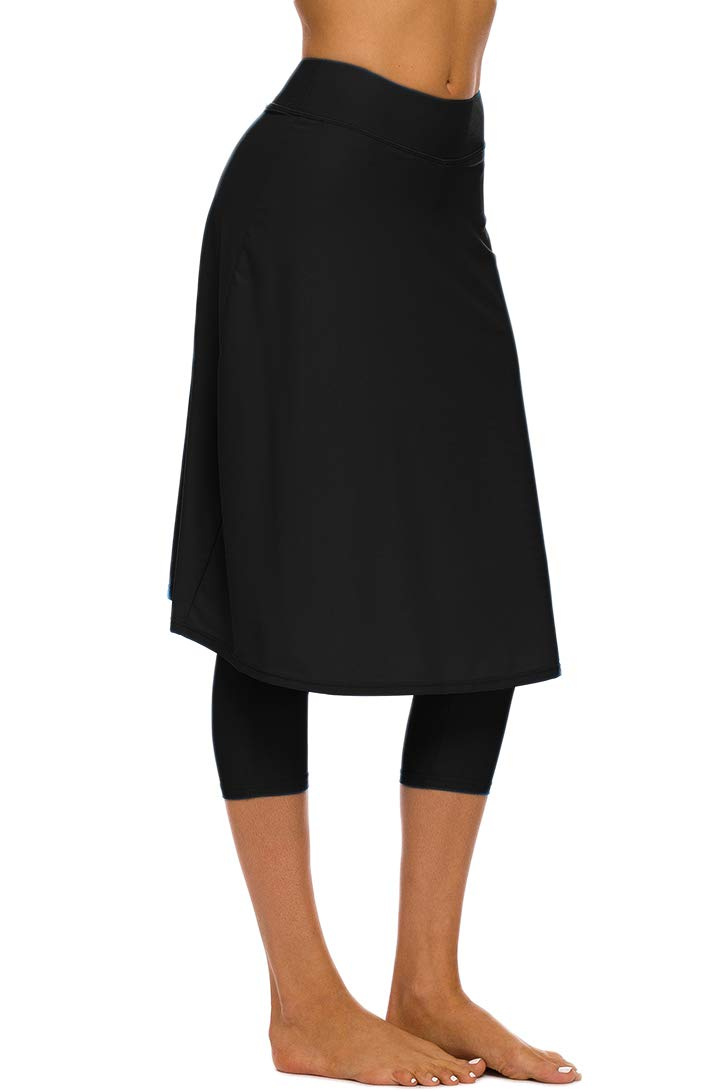 Micosuza Long Swim Skirt with Attached Leggings Modest Sun Protection Sports Skirt for Women Black by Micosuza