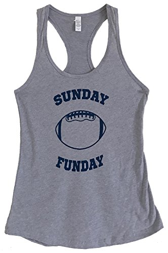 The Bold Banana Women's Sunday Funday Football Tank Top - M - Heather Grey