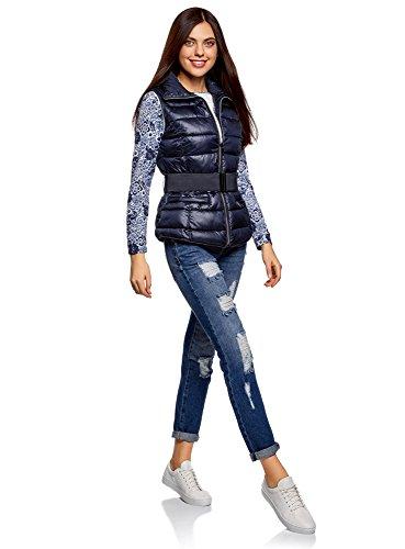 Azul con Chaqueta oodji Elástico Mujer y Ultra Cuello Cinturón 7900n Alto qwCBZz