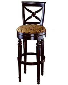 Hillsdale Normandy 26-Inch Swivel Counter Stool, Rubbed Black-Honey Finish with Gold and Black Floral Fabric