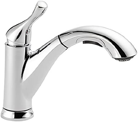 Delta Faucet Grant Single-Handle Kitchen Sink Faucet with Pull Out Sprayer,  Chrome 16953-DST