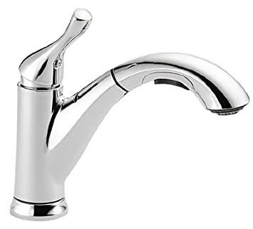 Delta Faucet 16953 DST Single Handle Pull Out Kitchen Faucet, Chrome Design