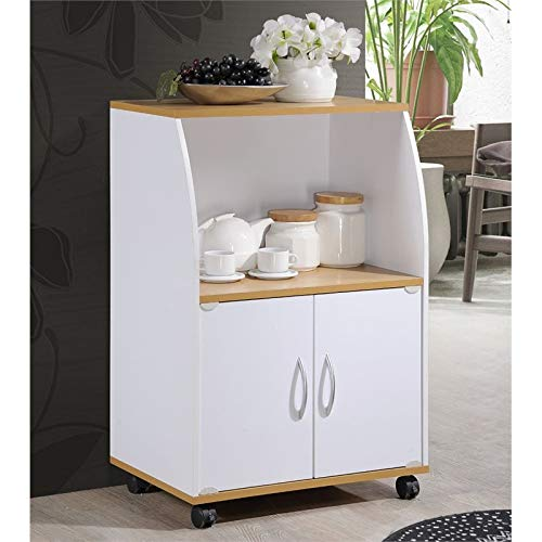 Pemberly Row Microwave Kitchen Cart in White