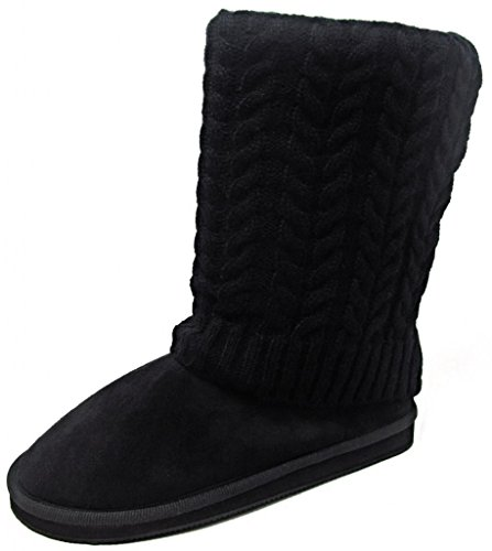 Women's Black Sweater Boots Mid Calf Foldover Cable Knit (10) Cable Sweater Boots
