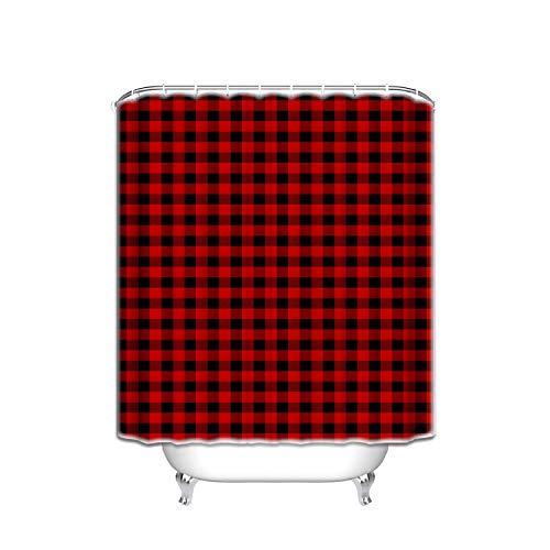 Prime Leader Custom Shower Curtains Rustic Red Black Buffalo Check Plaid Pattern Shower Curtain,Tartan,36