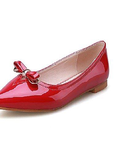 Mujer casual Carrera blanco de 5 Y rojo Flats Oficina Talón Pdx Comodidad us7 Eu38 De Negro 5 Uk5 Cn38 Piel Plano White Zapatos vestido Sintética wpC7xqt76