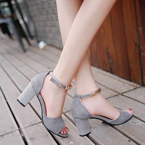 poisson ouvert en chaussures à mode à strass pour Boucle de gris chaussures Sandales ouvertes basses des bout Beikoard Élégantes avec bec femmes de 6nOqT0xEw