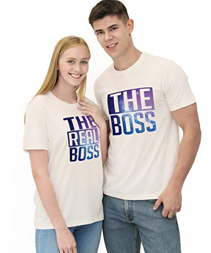 Matching Couple Shirts-The BOSS&The Real BOSS Shirts-His&Her Shirts Sky-White (His And Hers T Shirts)