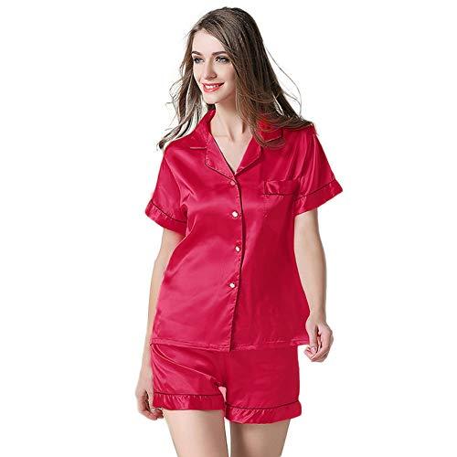 (NANJUN Women's Satin Pajamas Sleepwear Short Button-Down Pj Set(Rose,m0))