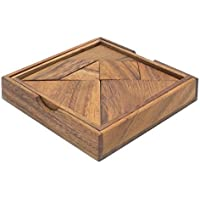 Tangram: Handmade & Organic 3D Brain Teaser Wooden Puzzle for Adults from SiamMandalay with SM Gift Box(Pictured)