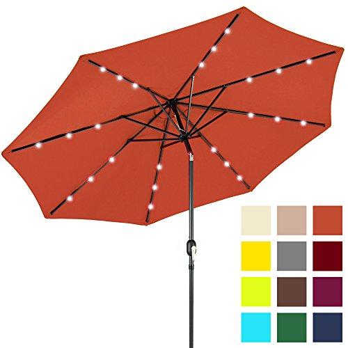 - Best Choice Products 10ft Solar LED Lighted Patio Umbrella w/Tilt Adjustment - Orange