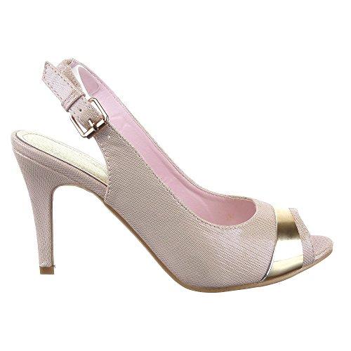 Sopily - Scarpe da Moda scarpe decollete Stiletto alla caviglia donna metallico 9 CM - soletta pelle - Rosa