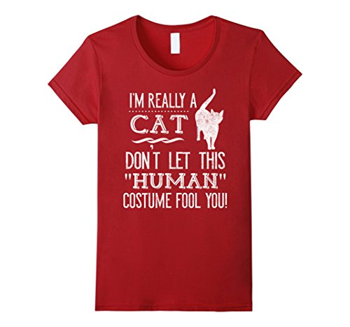 [Women's I'm Really a Cat Human Funny Halloween Costume T-Shirt XL Cranberry] (Funny Human Cat Costumes)