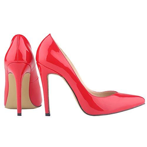 Womens Corset Patent Pumps Loslandifen High Red Work Style Heels PU Shoes gwO5dSqdXx