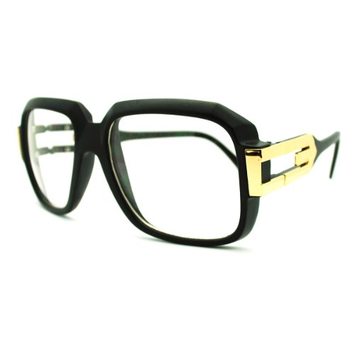 c4e9f9c1cbf4 zeroUV® - Large Classic Retro Square Frame RUN DMC Clear Lens Glasses  (Matte Black-Gold) - Buy Online in UAE.