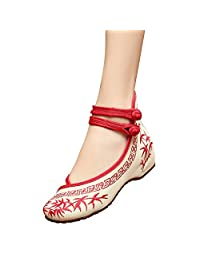 Fereshte Girls Chinese Bamboo Embroidery Wedge Party Dress Shoes