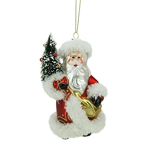 Northlight Old World Santa with Christmas Tree Decorative Glass Ornament, (Christmas Old World Santa)
