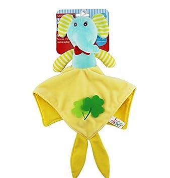 Bellecita Regalo Creativo Muñeca de Felpa muñeca de Mano Suave Toalla de Mano Juguetes de bebé (Elefante) (Color : Yellow Elephant , Size : 25cm) : ...