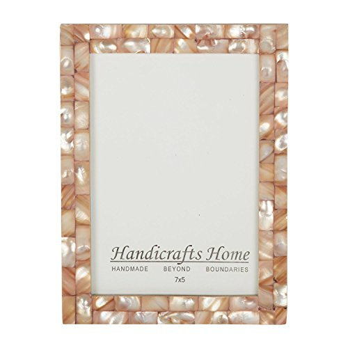 5×7 Picture Frames Chic Photo Frame Mother of Pearl Handmade Vintage from Handicrafts Home (5×7, Pink)