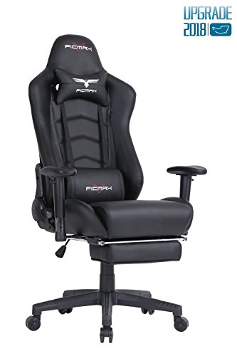 Ficmax Ergonomic Gaming Chair Racing Style Office Chair High-back Large Size Executive Chair PC Computer Desk Chair with Lumbar Massage Support and Footrest(Black)