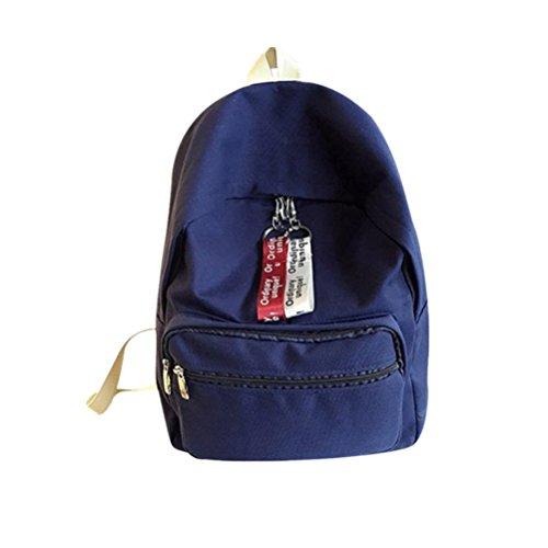 Women's Canvas Travel Bag Student Drawstring Bucket Backpack (Blue) - 5