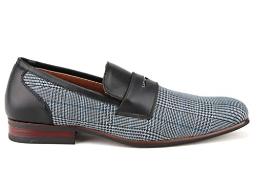 Ferro Aldo Mens 19371 Plaid Penny Loafers Dress Casual Shoes Black atSmckr