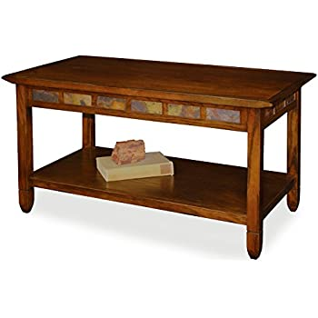 Rustic Slate Rectangular Coffee Table   Rustic Oak Finish