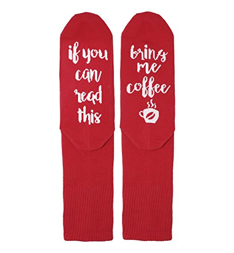 Zmart Women Funny Saying Cotton Red Crew Coffee Novelty Socks