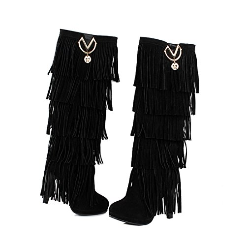 Women Western Fringe Knee High Boots Sexy High Heel Platform Suede Fashion Boots (Sexy High Heel Boot)