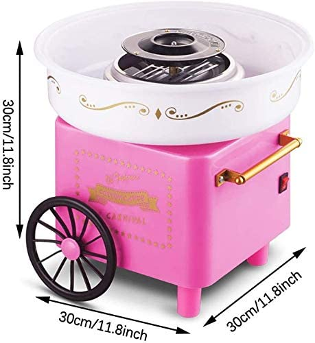 N/H Cotton Candy Maker Fashion Cotton Candy Machine JK-1801 Cotton Candy Maker Mini Home Cotton Candy Machine Stainless Steel Bottom Groove for Family Party (White)