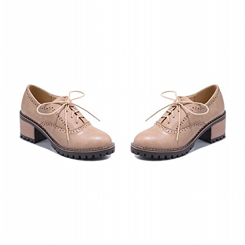 Oxford up Shoes Chunky Mid Beige Heels Latasa Women's Lace n1qwzzYU