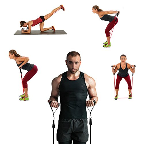 Large Product Image of WENFENG Resistance Band Set, Workout Bands Include 5 Exercise Bands, Door Anchor, Foam Handles, Ankle Straps and Carrying Bag for Resistance Training, Physical Therapy, Home Workouts