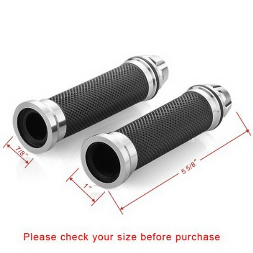 "Chrome 2PCS CNC Aluminum Bar End Slider Cap Plug 7/8"" Handlebar Hand Grips Universal Fit For Motorcycle Street Sport Dirt Bike with 7/8"" 22mm Left Grip and 1"" 25mm Right Grip"